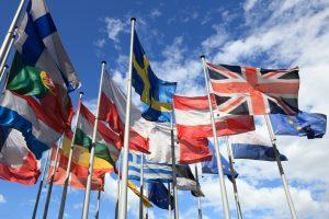 european flags in wind